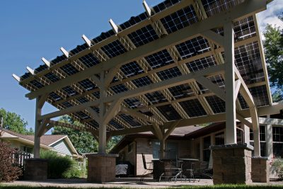 Solar Pergola by New Prairie Construction. Photo Credit: Paul Hixon